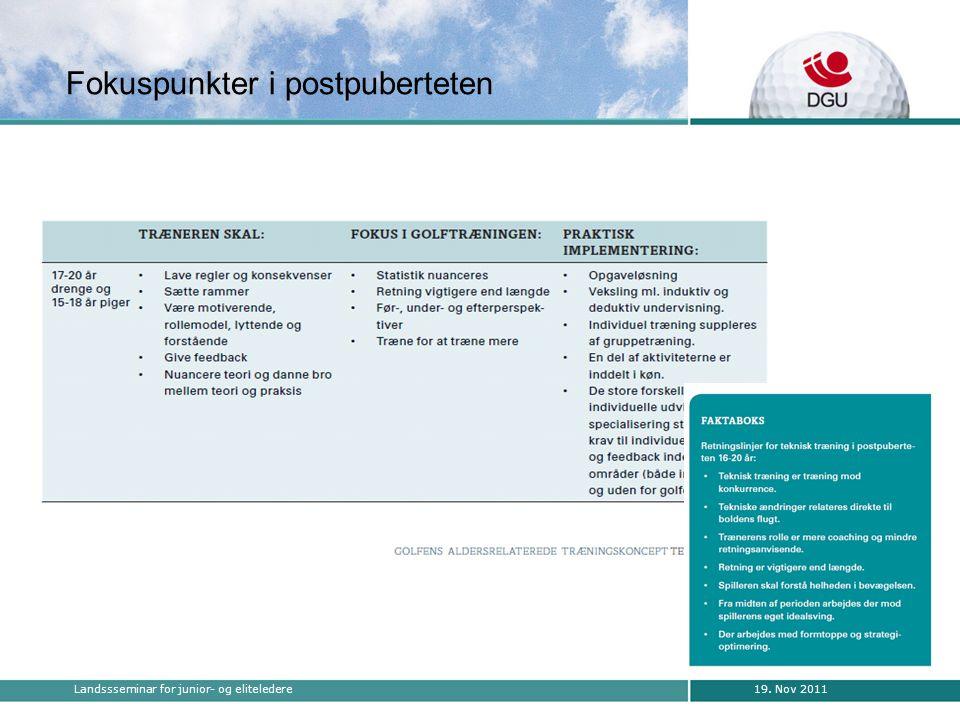 19. Nov 2011Landssseminar for junior- og eliteledere Fokuspunkter i postpuberteten