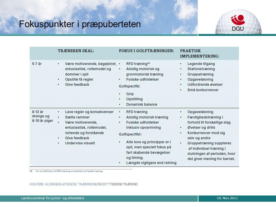 19. Nov 2011Landssseminar for junior- og eliteledere Fokuspunkter i præpuberteten