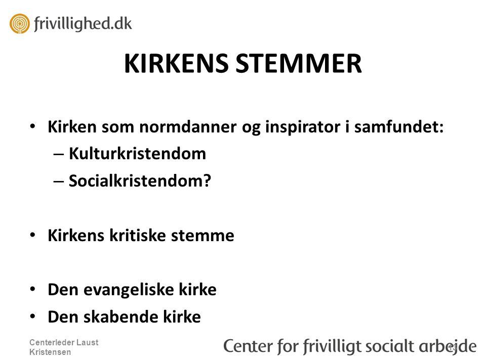 KIRKENS STEMMER Kirken som normdanner og inspirator i samfundet: – Kulturkristendom – Socialkristendom.