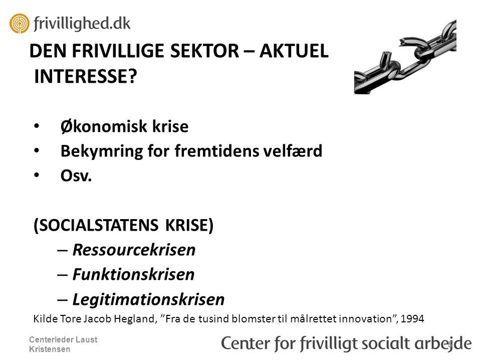 DEN FRIVILLIGE SEKTOR – AKTUEL INTERESSE. Økonomisk krise Bekymring for fremtidens velfærd Osv.