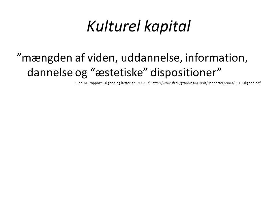 """Kulturel kapital """"mængden af viden, uddannelse, information, dannelse og """"æstetiske"""" dispositioner"""" Klide: SFI-rapport: Ulighed og livsforløb. 2003. J"""