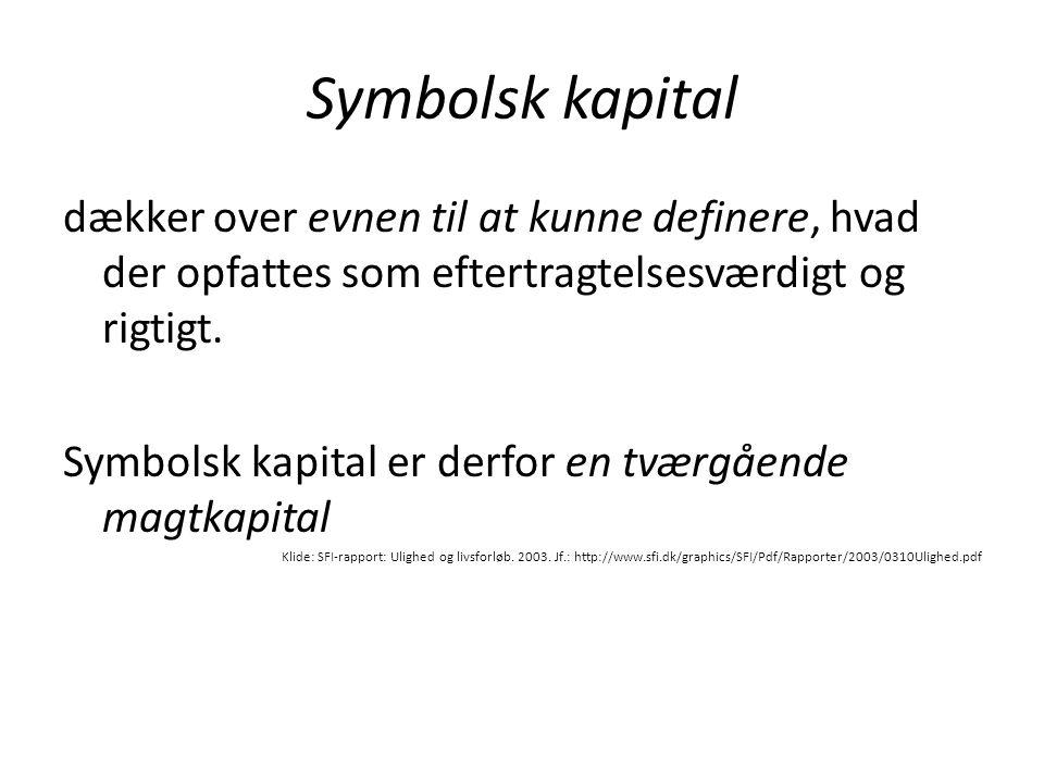 Symbolsk kapital dækker over evnen til at kunne definere, hvad der opfattes som eftertragtelsesværdigt og rigtigt. Symbolsk kapital er derfor en tværg