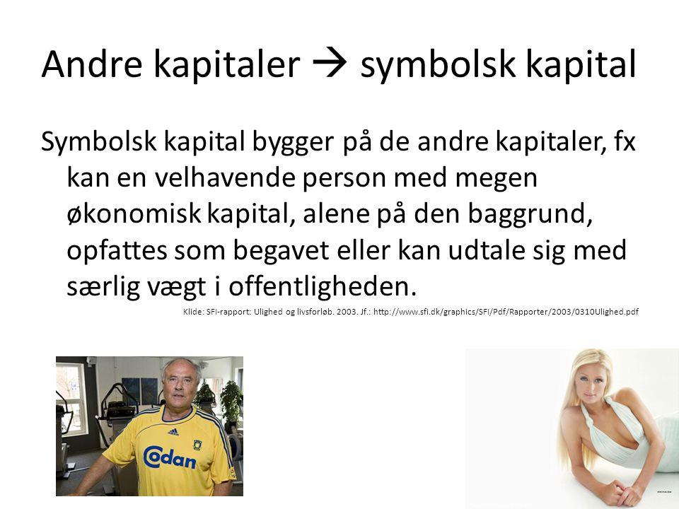 Andre kapitaler  symbolsk kapital Symbolsk kapital bygger på de andre kapitaler, fx kan en velhavende person med megen økonomisk kapital, alene på de