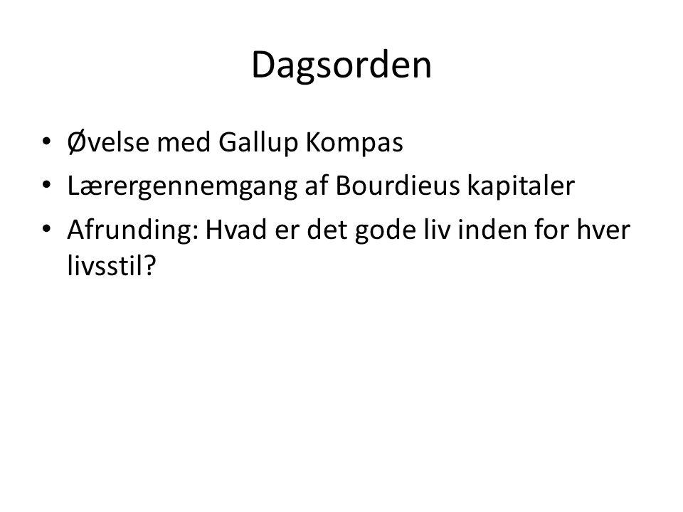 Dagsorden Øvelse med Gallup Kompas Lærergennemgang af Bourdieus kapitaler Afrunding: Hvad er det gode liv inden for hver livsstil?