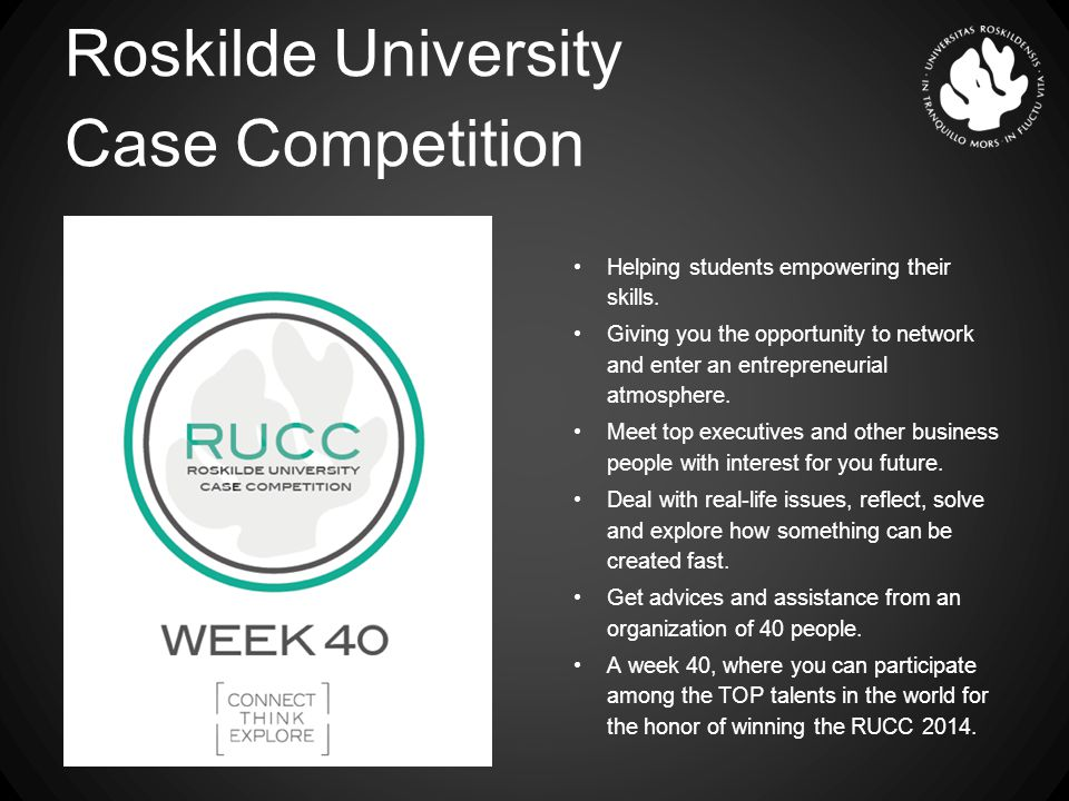 Roskilde University Case Competition Helping students empowering their skills.