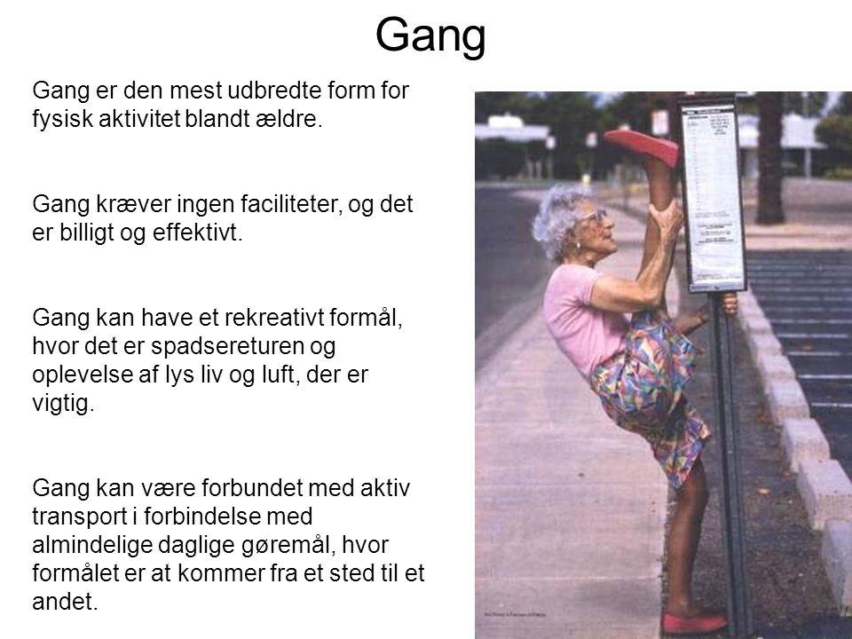 Gang er den mest udbredte form for fysisk aktivitet blandt ældre.