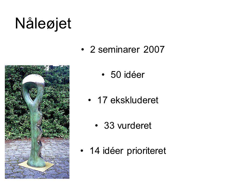 Nåleøjet 2 seminarer 2007 50 idéer 17 ekskluderet 33 vurderet 14 idéer prioriteret