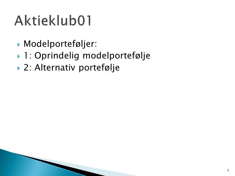  Modelporteføljer:  1: Oprindelig modelportefølje  2: Alternativ portefølje 5