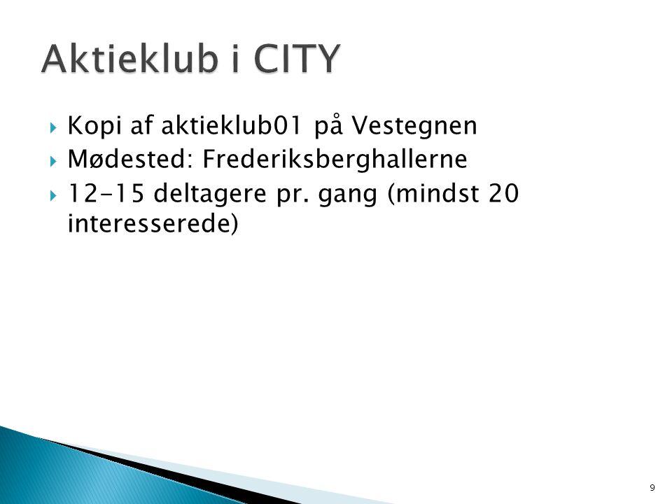  Kopi af aktieklub01 på Vestegnen  Mødested: Frederiksberghallerne  12-15 deltagere pr.