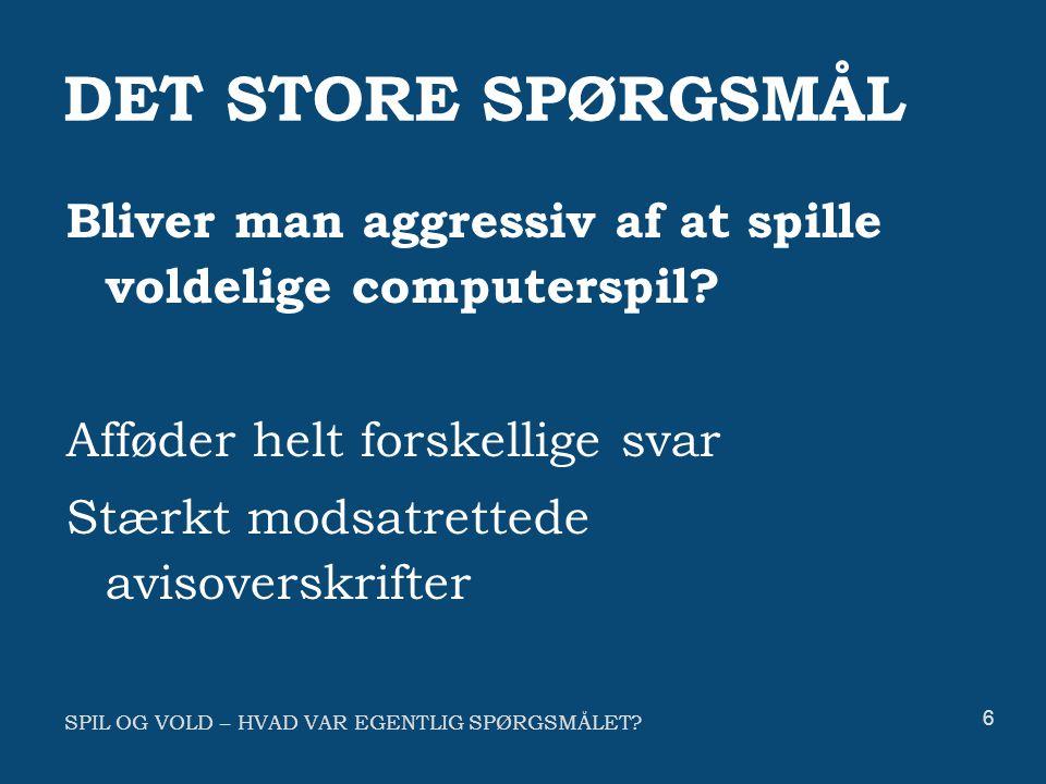 SPIL OG VOLD – HVAD VAR EGENTLIG SPØRGSMÅLET.