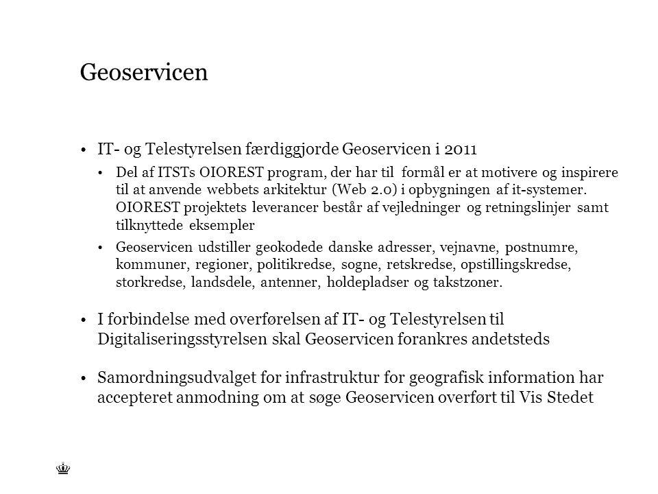 Tekst starter uden punktopstilling For at få punktopstilling på teksten (flere niveauer findes), brug >Forøg listeniveau- knappen i Topmenuen For at få venstrestillet tekst uden punktopstilling, brug >Formindsk listeniveau- knappen i Topmenuen Geoservicen IT- og Telestyrelsen færdiggjorde Geoservicen i 2011 Del af ITSTs OIOREST program, der har til formål er at motivere og inspirere til at anvende webbets arkitektur (Web 2.0) i opbygningen af it-systemer.