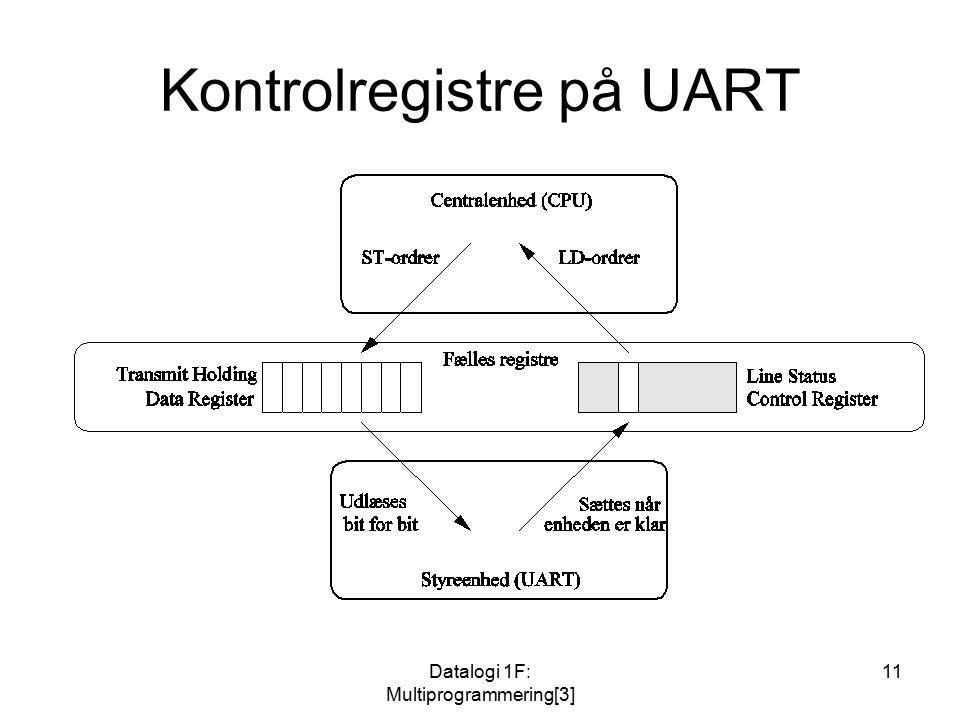 Datalogi 1F: Multiprogrammering[3] 11 Kontrolregistre på UART