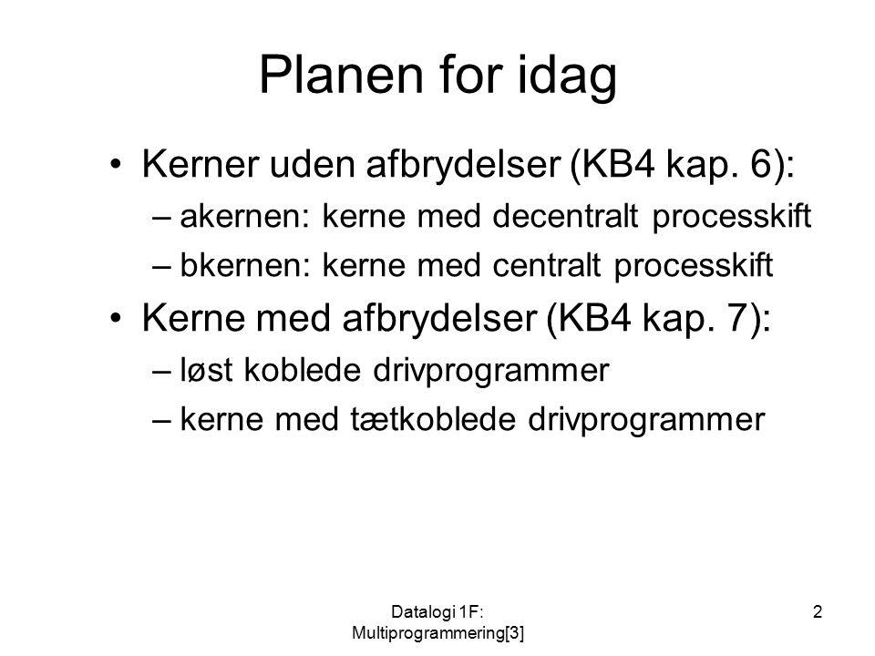 Datalogi 1F: Multiprogrammering[3] 2 Planen for idag Kerner uden afbrydelser (KB4 kap.