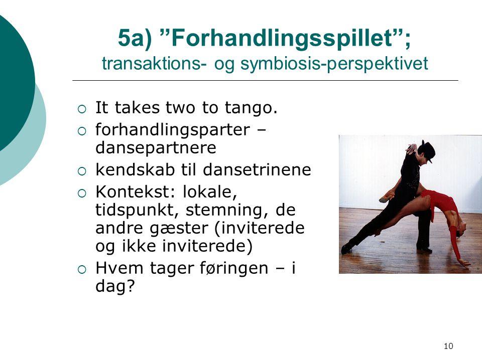 10 5a) Forhandlingsspillet ; transaktions- og symbiosis-perspektivet  It takes two to tango.