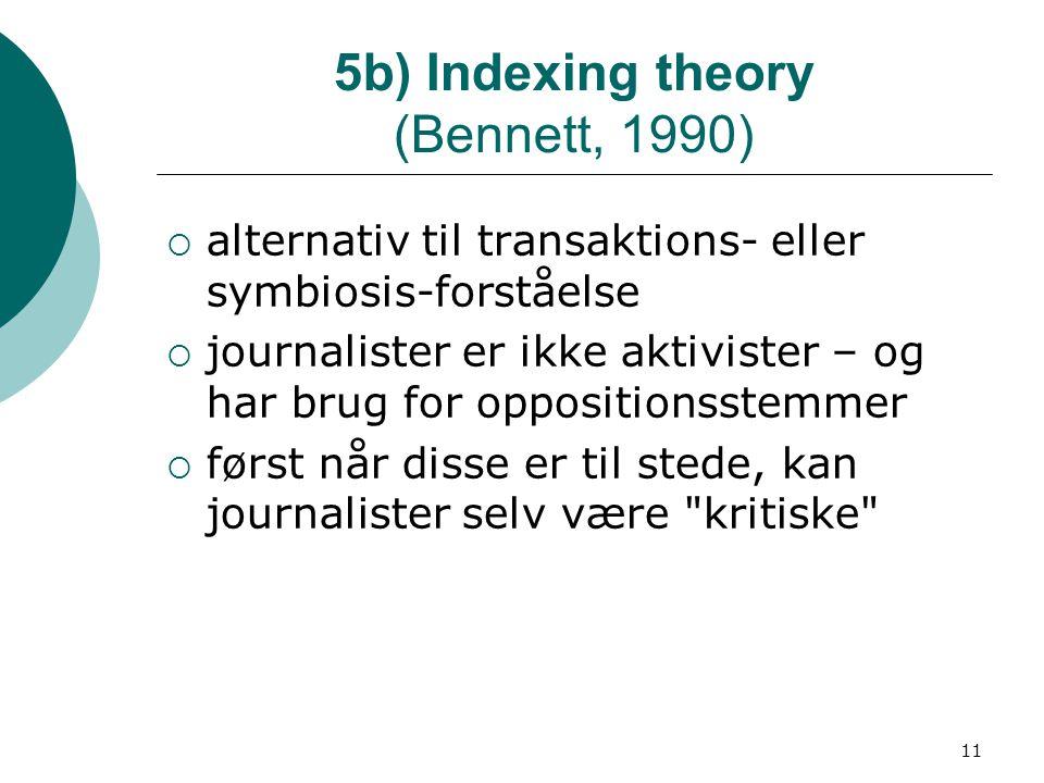 11 5b) Indexing theory (Bennett, 1990)  alternativ til transaktions- eller symbiosis-forståelse  journalister er ikke aktivister – og har brug for oppositionsstemmer  først når disse er til stede, kan journalister selv være kritiske