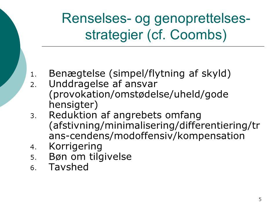 5 Renselses- og genoprettelses- strategier (cf. Coombs) 1.