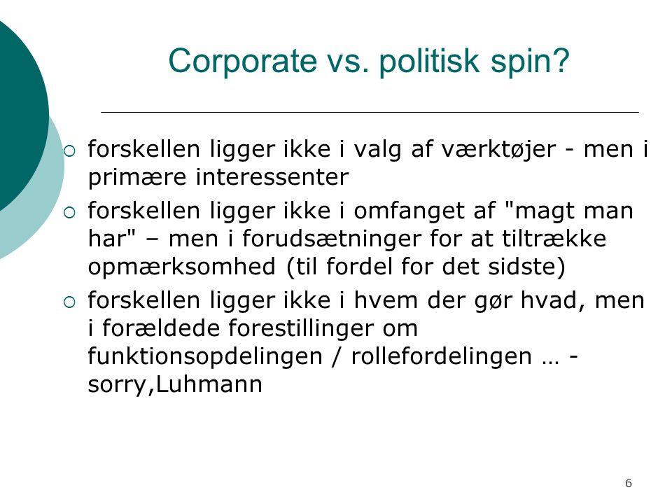 6 Corporate vs. politisk spin.
