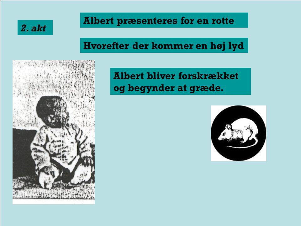 Albert præsenteres for en rotte Albert smiler glad til rotten 1. akt