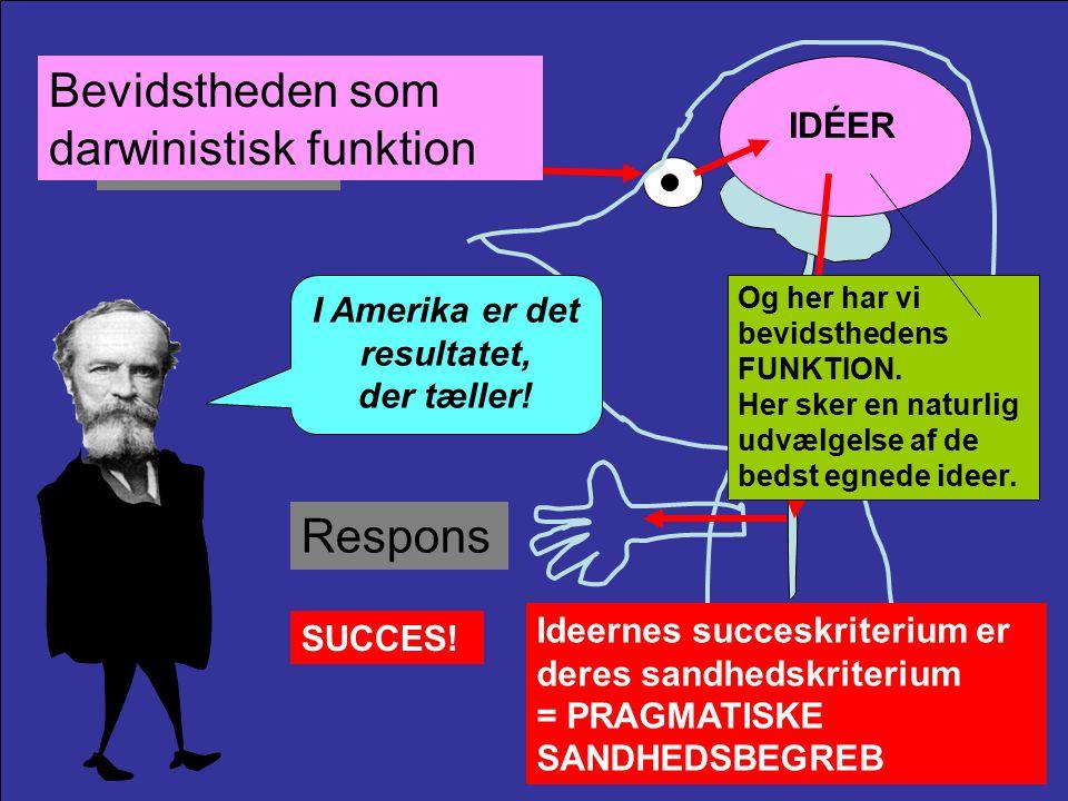 Stimulus IDÉER Bevidstheden som darwinistisk funktion Respons Og her har vi bevidsthedens FUNKTION.