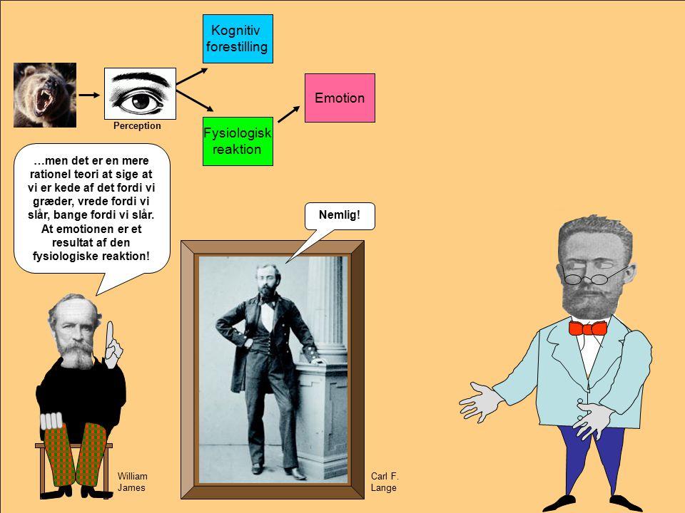 Emotion Kognitiv forestilling Fysiologisk reaktion Emotion Perception William James Carl F.