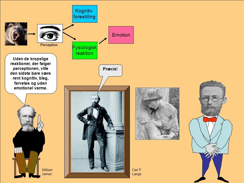 Carl F. Lange Emotion Kognitiv forestilling Fysiologisk reaktion Emotion Perception Ja.