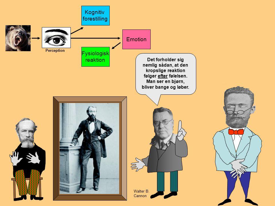 Emotion Kognitiv forestilling Fysiologisk reaktion Emotion Perception Ja, det er faktisk forkert!