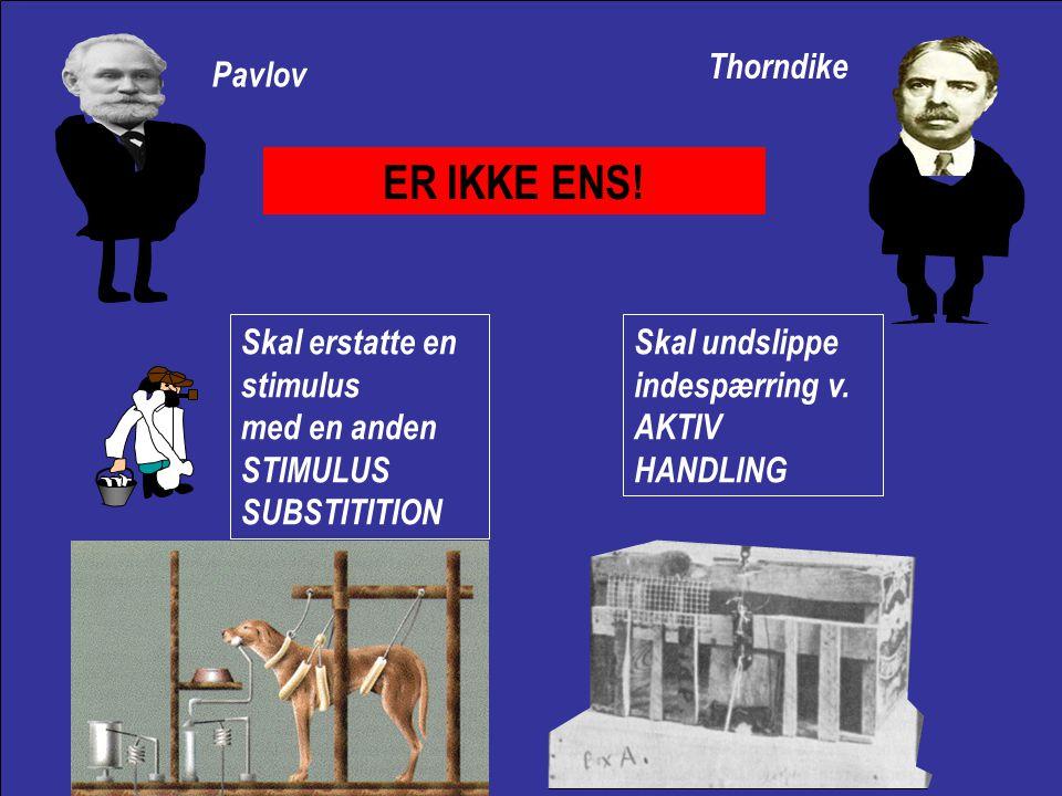 Reinforcering Forstærkning Ekstinktion Udslukning Spontan genopdukken Inhibition og disinhibition Sensorisk diskrimination Eksperimentel neurose KLASSISK BETINGNING Sensorisk generalisering