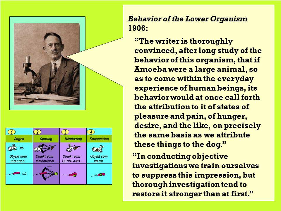 Behavior of the Lower Organisms 1906: Konsumtion 4 Håndtering 3 Sporing 21 Søgen Objekt som information.