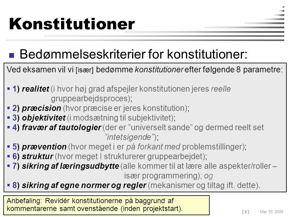 [ 2 ] Claus Brabrand, ITU, Denmark Mar 10, 2009EFFECTIVE JAVA Konstitutioner Bedømmelseskriterier for konstitutioner: Ved eksamen vil vi [især] bedømme konstitutioner efter følgende 8 parametre:  1) realitet (i hvor høj grad afspejler konstitutionen jeres reelle gruppearbejdsproces);  2) præcision (hvor præcise er jeres konstitution);  3) objektivitet (i modsætning til subjektivitet);  4) fravær af tautologier (der er universelt sande og dermed reelt set intetsigende );  5) prævention (hvor meget i er på forkant med problemstillinger);  6) struktur (hvor meget I strukturerer gruppearbejdet);  7) sikring af læringsudbytte (alle kommer til at lære alle aspekter/roller – især programmering); og  8) sikring af egne normer og regler (mekanismer og tiltag ift.