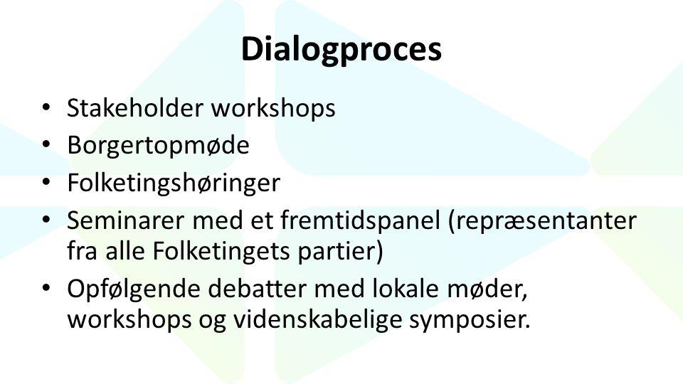 Dialogproces Stakeholder workshops Borgertopmøde Folketingshøringer Seminarer med et fremtidspanel (repræsentanter fra alle Folketingets partier) Opfølgende debatter med lokale møder, workshops og videnskabelige symposier.