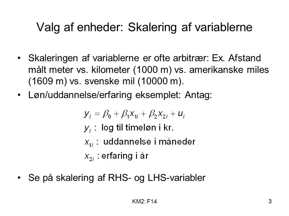 KM2: F143 Valg af enheder: Skalering af variablerne Skaleringen af variablerne er ofte arbitrær: Ex.