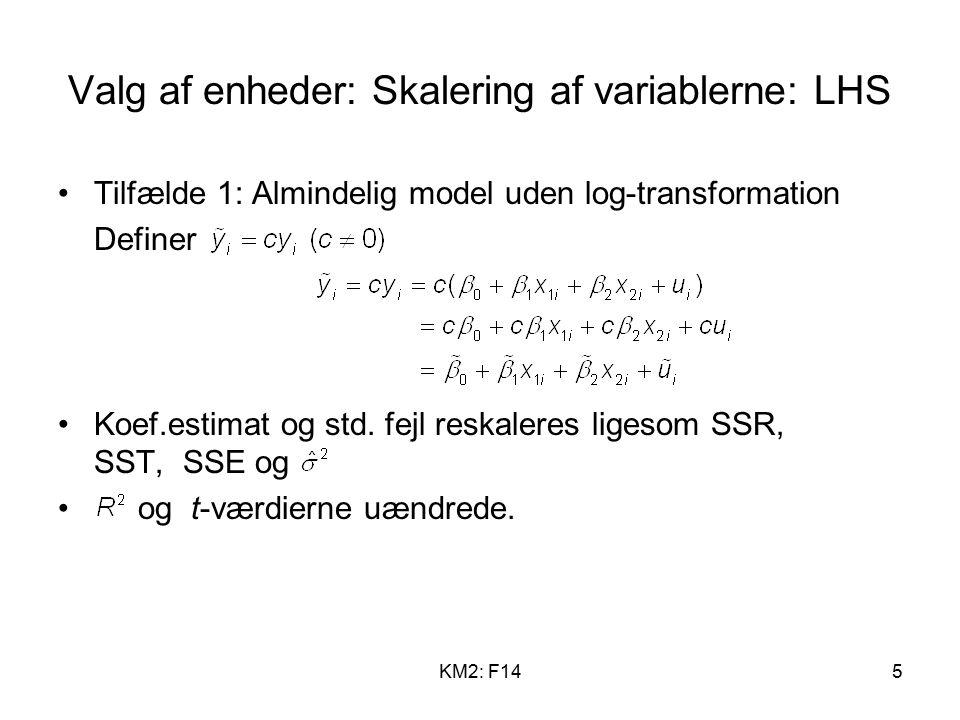 KM2: F145 Valg af enheder: Skalering af variablerne: LHS Tilfælde 1: Almindelig model uden log-transformation Definer Koef.estimat og std.