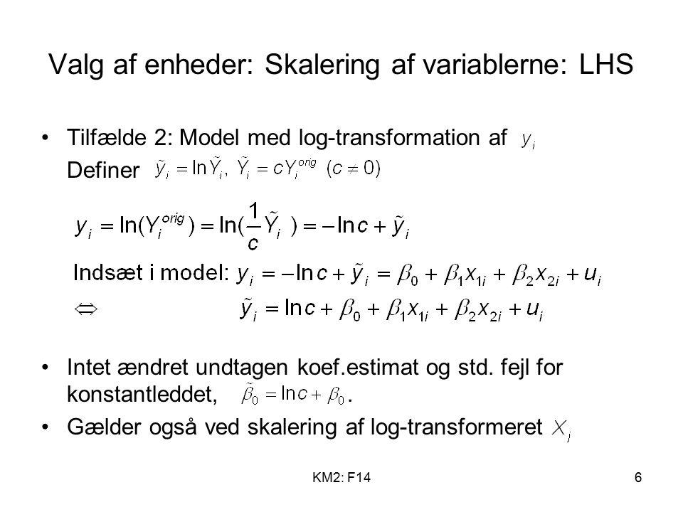 KM2: F146 Valg af enheder: Skalering af variablerne: LHS Tilfælde 2: Model med log-transformation af Definer Intet ændret undtagen koef.estimat og std.