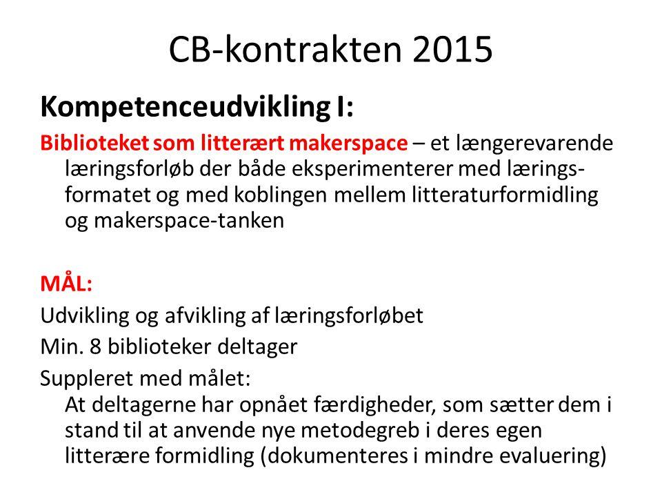 CB-kontrakten 2015 Kompetenceudvikling I: Biblioteket som litterært makerspace – et længerevarende læringsforløb der både eksperimenterer med lærings- formatet og med koblingen mellem litteraturformidling og makerspace-tanken MÅL: Udvikling og afvikling af læringsforløbet Min.