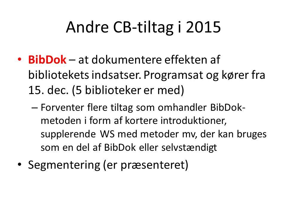 Andre CB-tiltag i 2015 BibDok – at dokumentere effekten af bibliotekets indsatser.