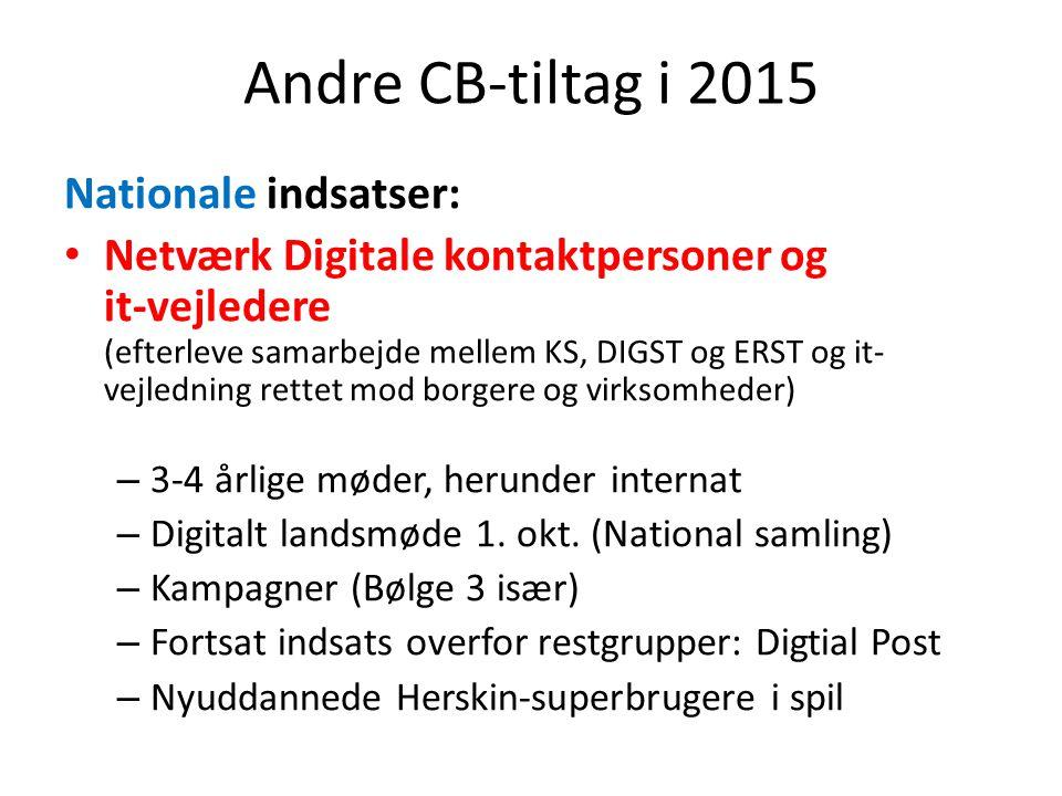 Andre CB-tiltag i 2015 Nationale indsatser: Netværk Digitale kontaktpersoner og it-vejledere (efterleve samarbejde mellem KS, DIGST og ERST og it- vejledning rettet mod borgere og virksomheder) – 3-4 årlige møder, herunder internat – Digitalt landsmøde 1.