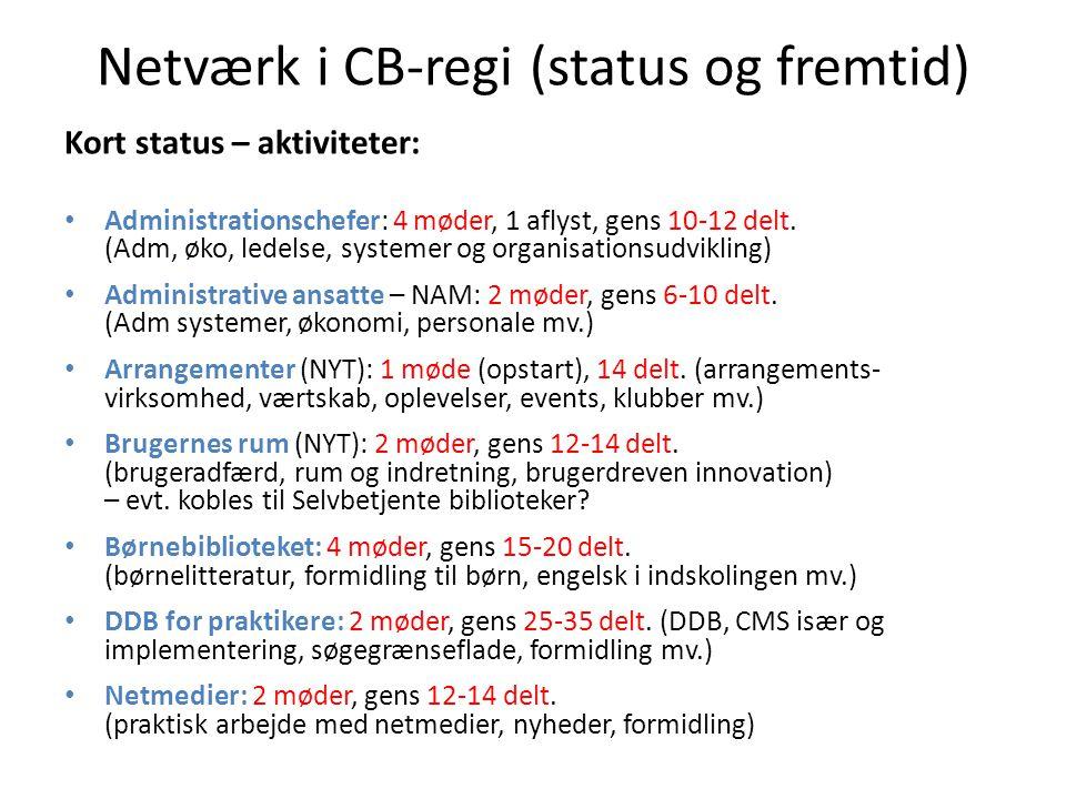 Netværk i CB-regi (status og fremtid) Kort status – aktiviteter: Administrationschefer: 4 møder, 1 aflyst, gens 10-12 delt.