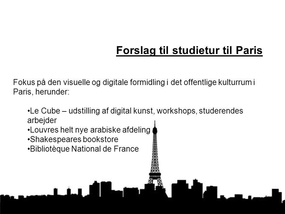 Forslag til studietur til Paris Fokus på den visuelle og digitale formidling i det offentlige kulturrum i Paris, herunder: Le Cube – udstilling af digital kunst, workshops, studerendes arbejder Louvres helt nye arabiske afdeling Shakespeares bookstore Bibliotèque National de France