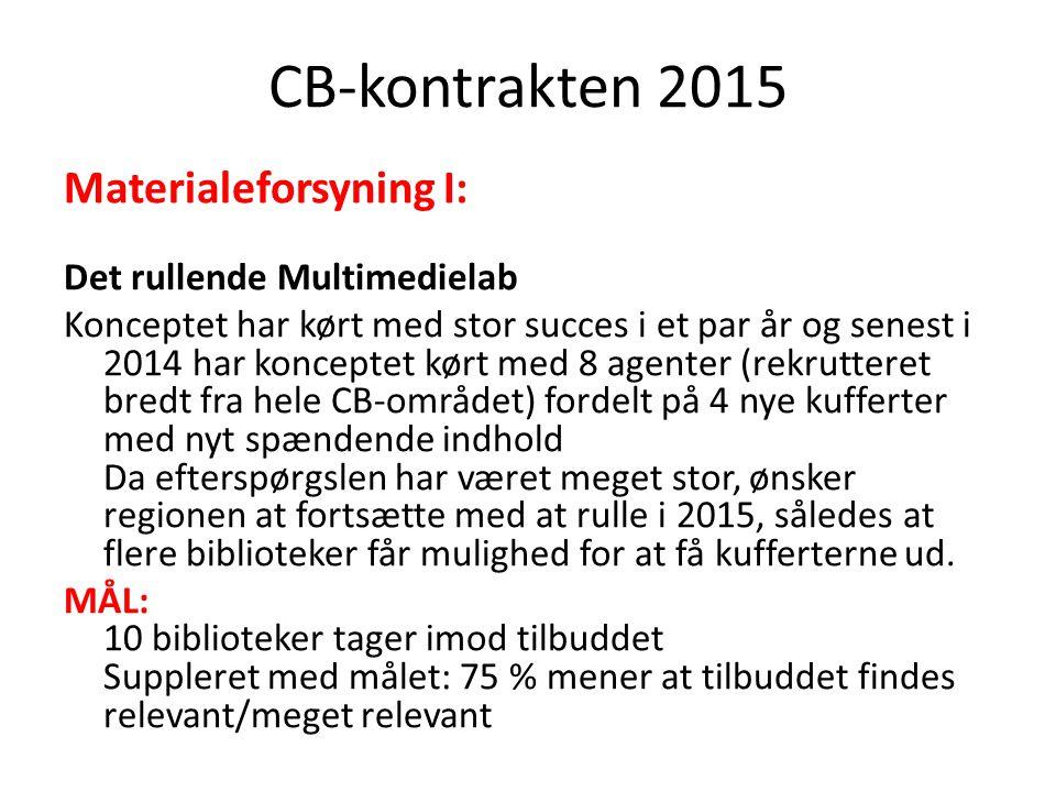 CB-kontrakten 2015 Materialeforsyning I: Det rullende Multimedielab Konceptet har kørt med stor succes i et par år og senest i 2014 har konceptet kørt med 8 agenter (rekrutteret bredt fra hele CB-området) fordelt på 4 nye kufferter med nyt spændende indhold Da efterspørgslen har været meget stor, ønsker regionen at fortsætte med at rulle i 2015, således at flere biblioteker får mulighed for at få kufferterne ud.