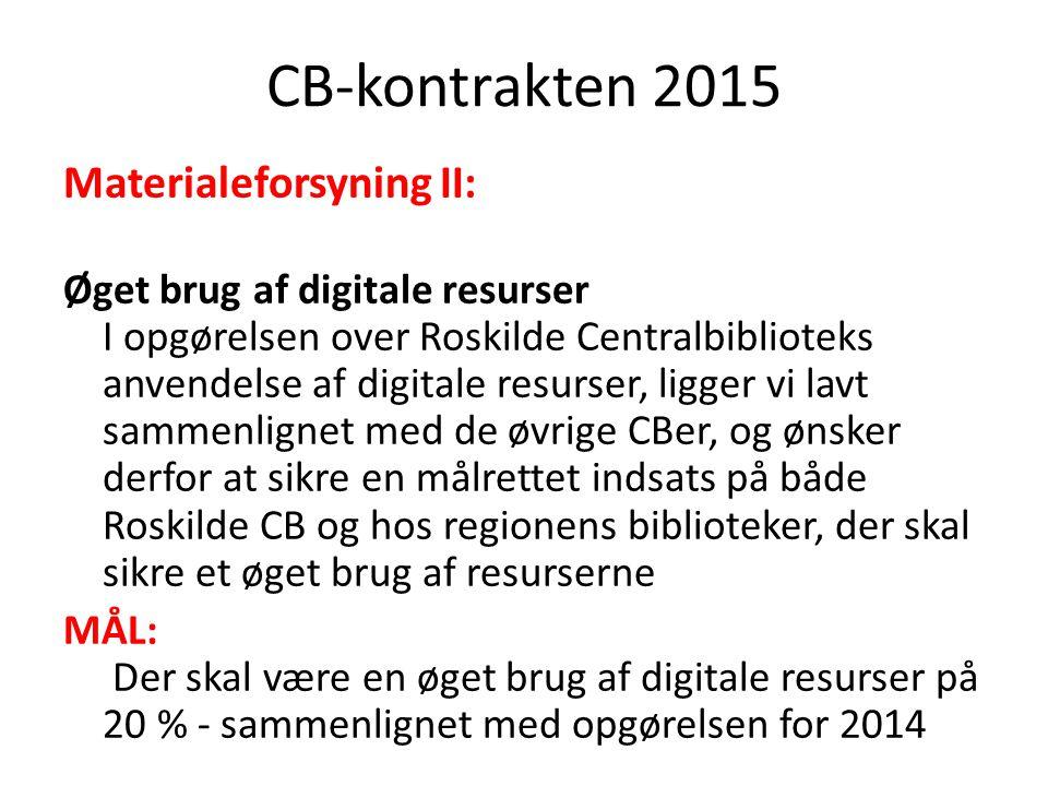 CB-kontrakten 2015 Materialeforsyning II: Øget brug af digitale resurser I opgørelsen over Roskilde Centralbiblioteks anvendelse af digitale resurser, ligger vi lavt sammenlignet med de øvrige CBer, og ønsker derfor at sikre en målrettet indsats på både Roskilde CB og hos regionens biblioteker, der skal sikre et øget brug af resurserne MÅL: Der skal være en øget brug af digitale resurser på 20 % - sammenlignet med opgørelsen for 2014