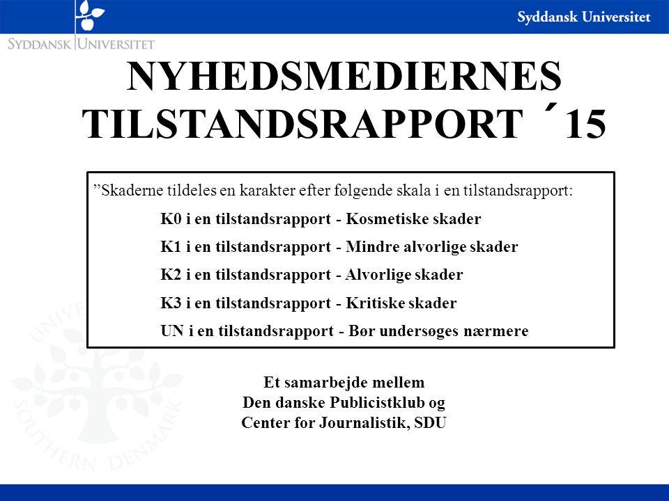 NYHEDSMEDIERNES TILSTANDSRAPPORT ´15 Et samarbejde mellem Den danske Publicistklub og Center for Journalistik, SDU Skaderne tildeles en karakter efter følgende skala i en tilstandsrapport: K0 i en tilstandsrapport - Kosmetiske skader K1 i en tilstandsrapport - Mindre alvorlige skader K2 i en tilstandsrapport - Alvorlige skader K3 i en tilstandsrapport - Kritiske skader UN i en tilstandsrapport - Bør undersøges nærmere