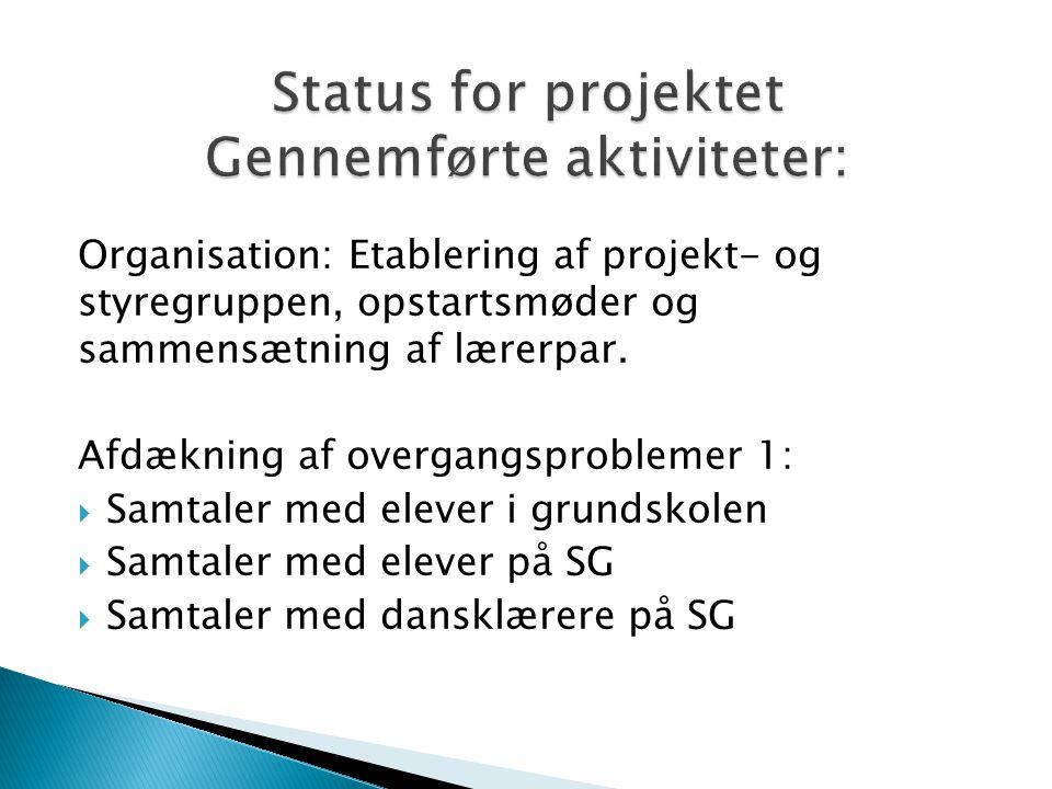 Organisation: Etablering af projekt- og styregruppen, opstartsmøder og sammensætning af lærerpar.