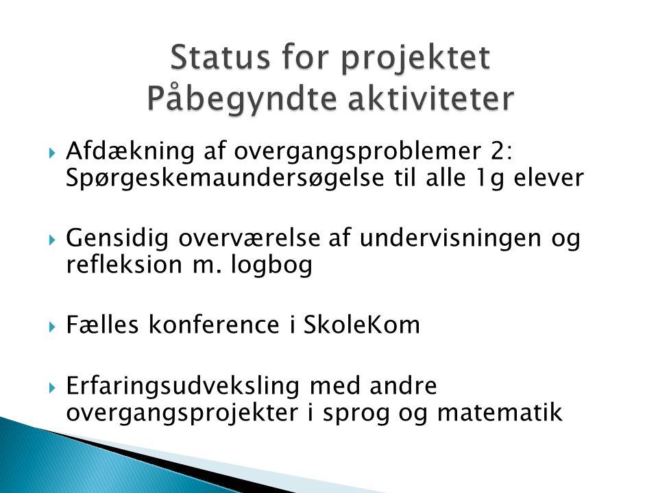  Afdækning af overgangsproblemer 2: Spørgeskemaundersøgelse til alle 1g elever  Gensidig overværelse af undervisningen og refleksion m.
