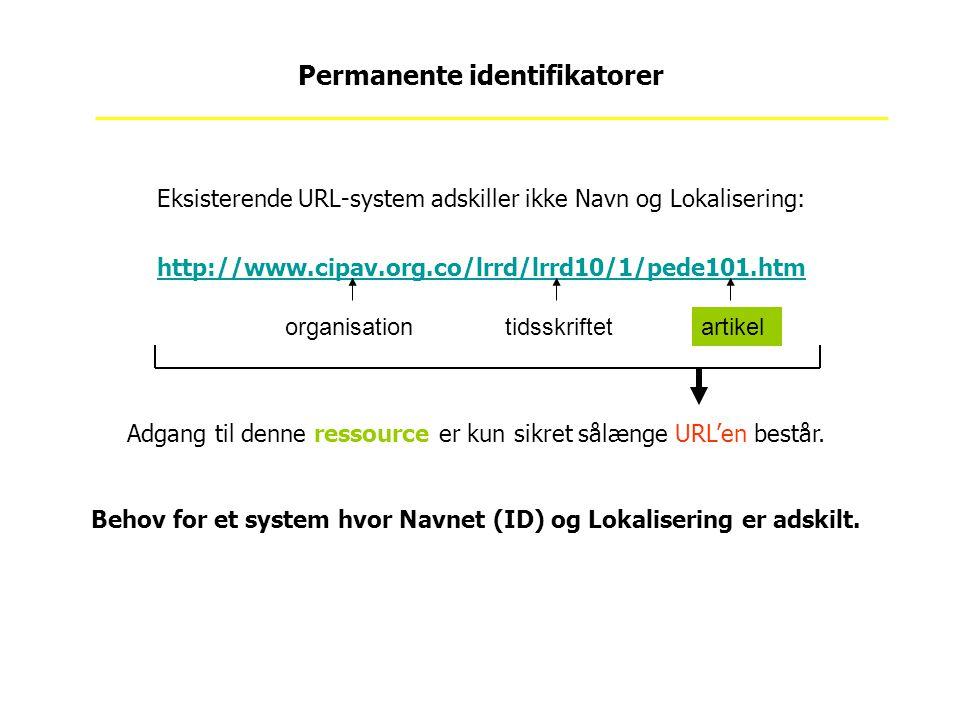 Eksisterende URL-system adskiller ikke Navn og Lokalisering: http://www.cipav.org.co/lrrd/lrrd10/1/pede101.htm Permanente identifikatorer artikelorganisationtidsskriftet Adgang til denne ressource er kun sikret sålænge URL'en består.