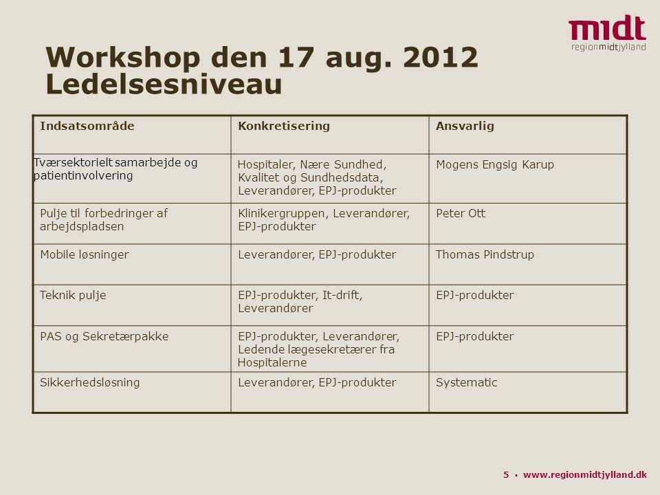 5 ▪ www.regionmidtjylland.dk Workshop den 17 aug.