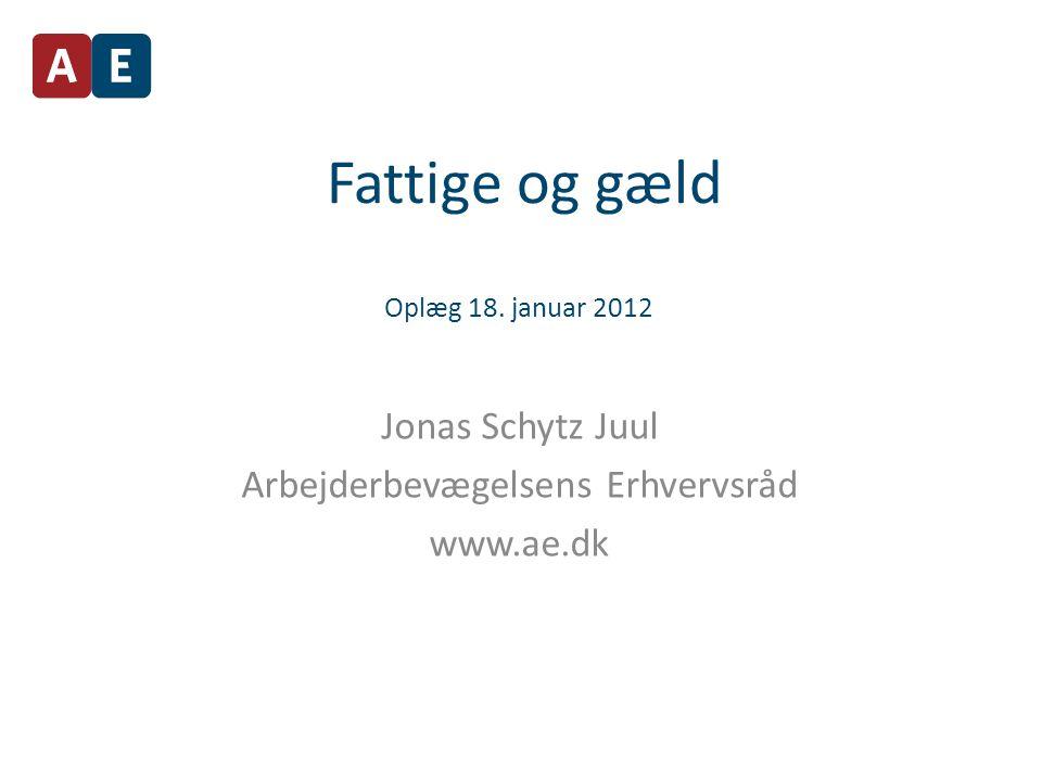 Fattige og gæld Oplæg 18. januar 2012 Jonas Schytz Juul Arbejderbevægelsens Erhvervsråd www.ae.dk