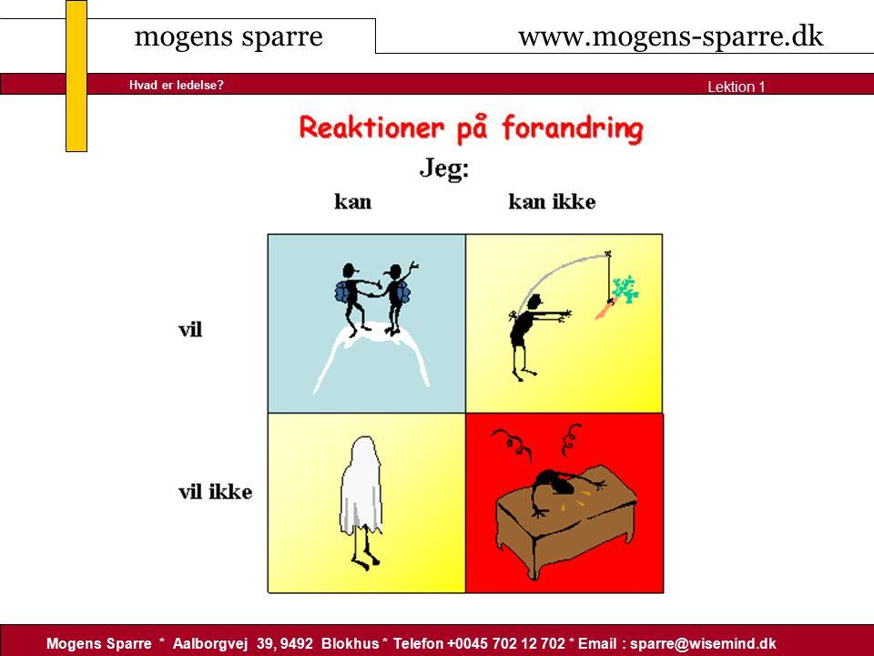 mogens sparre www.mogens-sparre.dk Mogens Sparre * Aalborgvej 39, 9492 Blokhus * Telefon +0045 702 12 702 * Email : sparre@wisemind.dk Lektion 1 Hvad er ledelse
