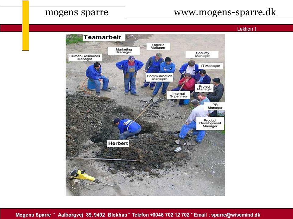 mogens sparre www.mogens-sparre.dk Mogens Sparre * Aalborgvej 39, 9492 Blokhus * Telefon +0045 702 12 702 * Email : sparre@wisemind.dk Lektion 1