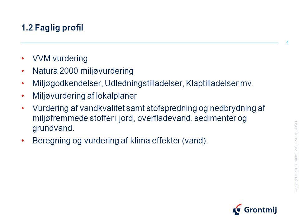 Copyright © 2013 Grontmij A/S | CVR 48233511 1.2 Faglig profil 4 VVM vurdering Natura 2000 miljøvurdering Miljøgodkendelser, Udledningstilladelser, Klaptilladelser mv.