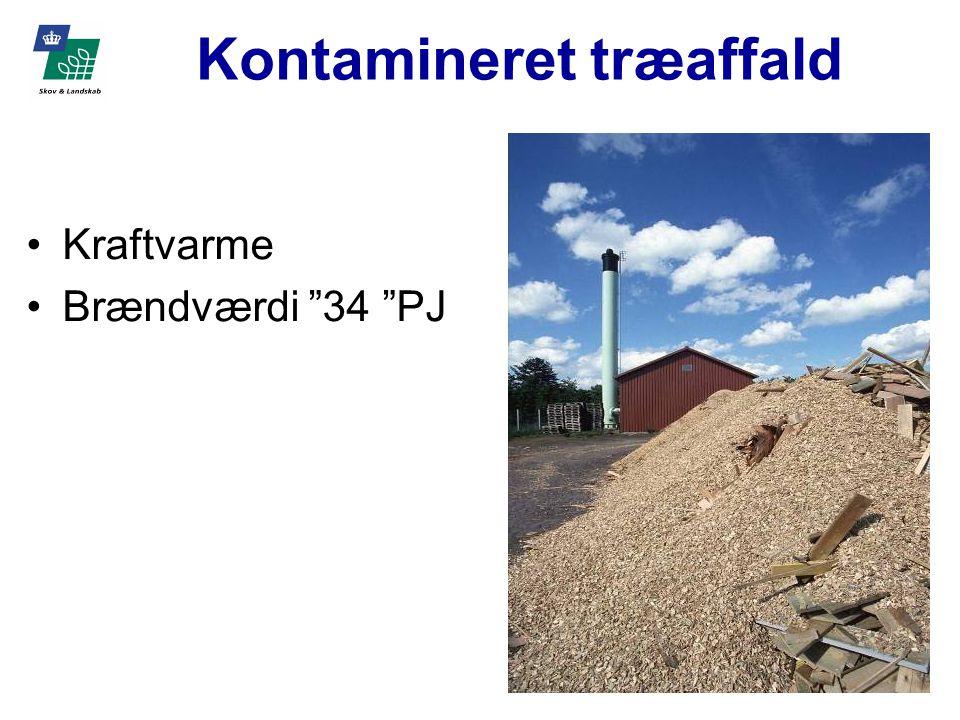 Kontamineret træaffald Kraftvarme Brændværdi 34 PJ